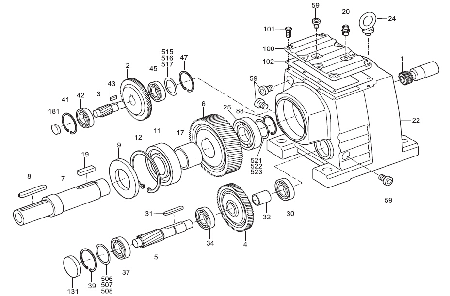 helical-inline gearbox